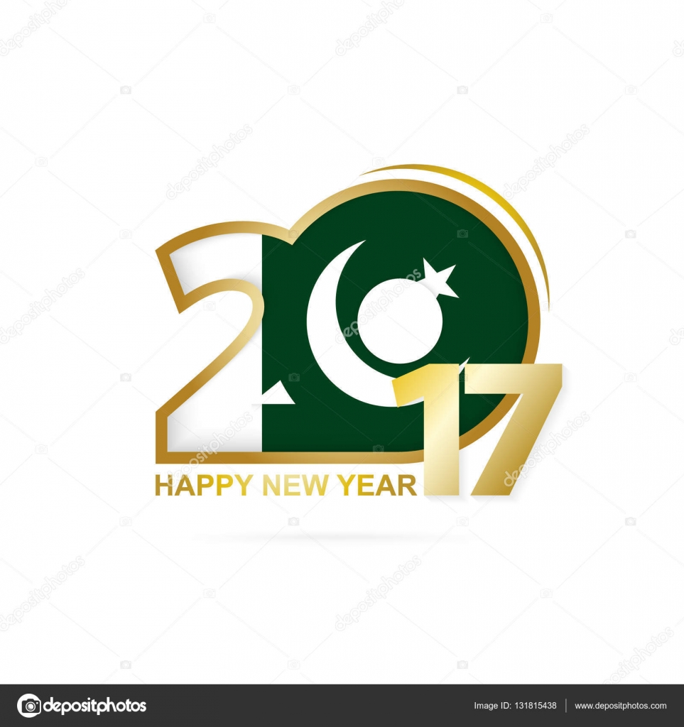 year 2017 with pakistan flag pattern happy new year design stock
