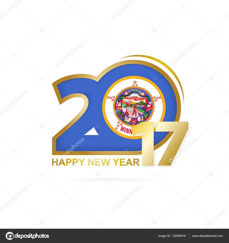 Year 2017 With Minnesota State Flag Pattern Stock Vector Boldg