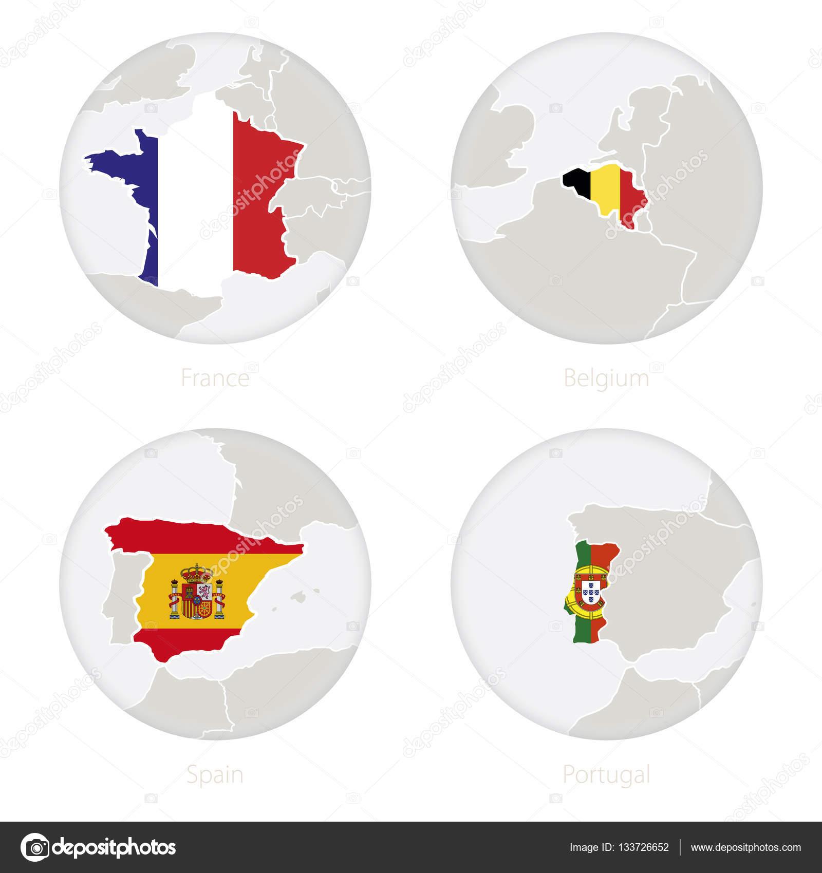 Carte Belgique Espagne.France Belgium Spain Portugal Map Contour And National