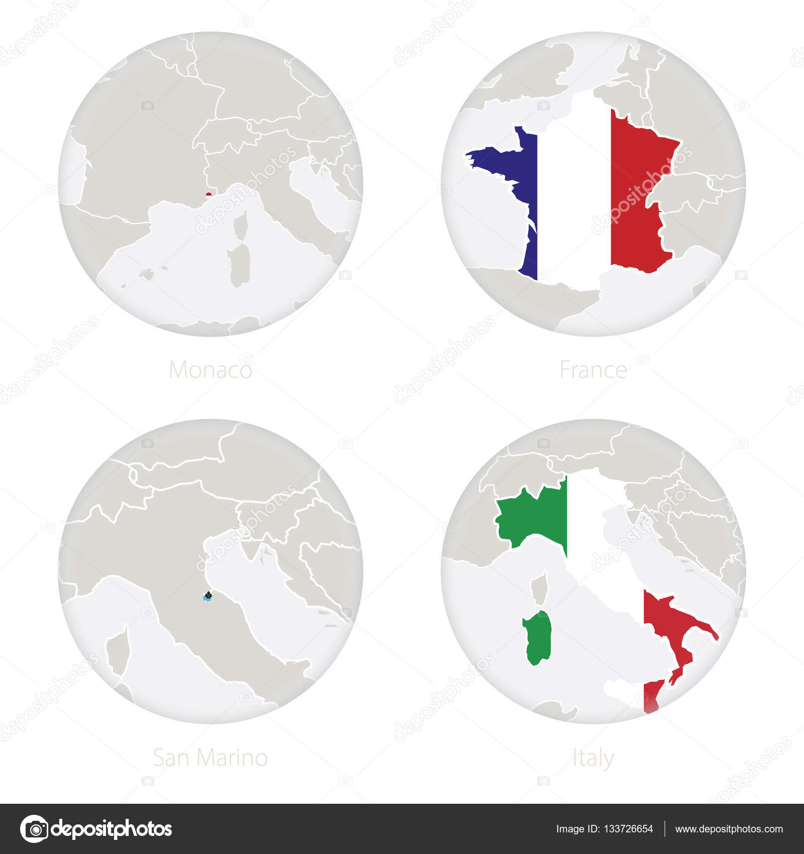Monaco France San Marino Italy Map Contour And National Flag In A