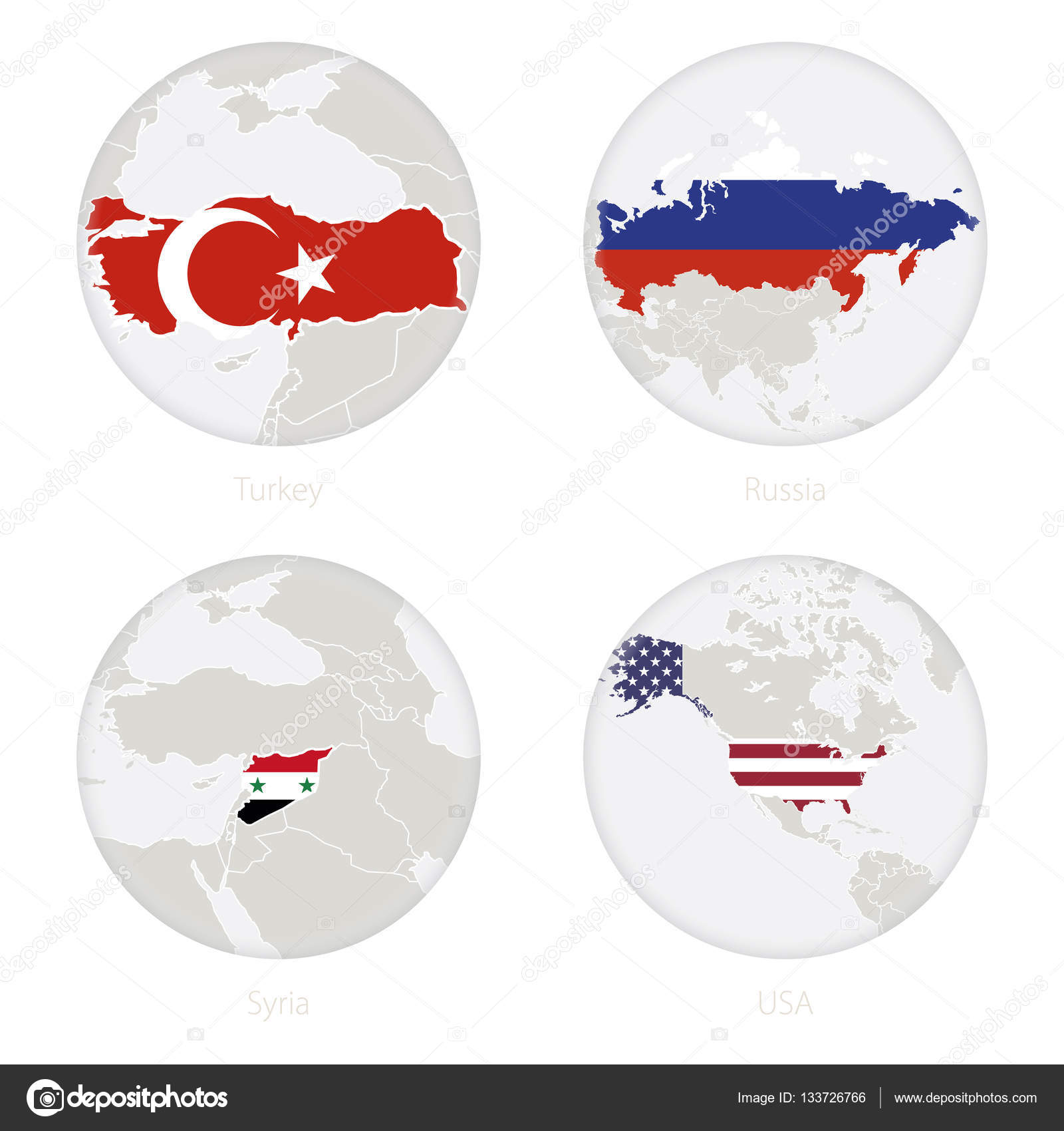Turkey Russia Syria Usa Map Contour And National Flag In A Circle