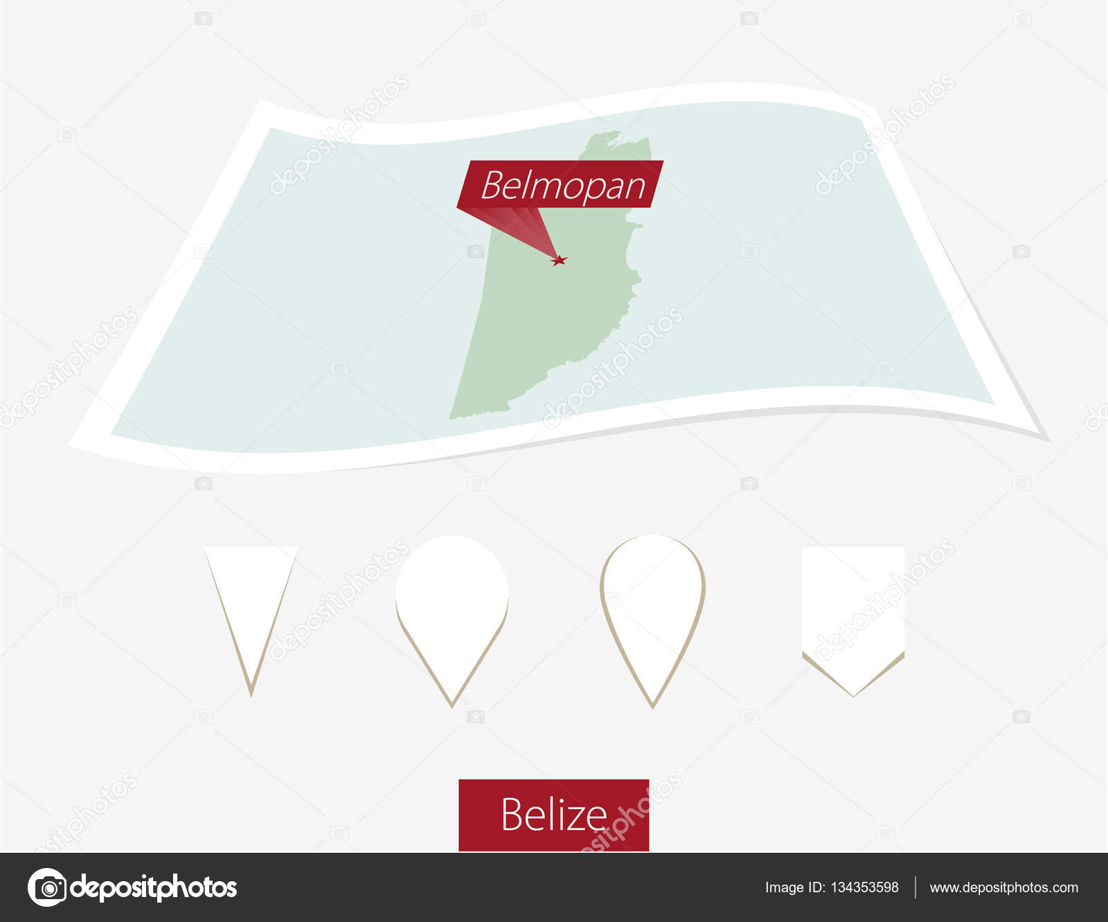 Curved Paper Map Of Belize With Capital Belmopan On Gray - belmopan map