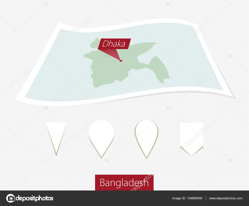 Curved paper map of Bangladesh with capital Dhaka on Gray ...