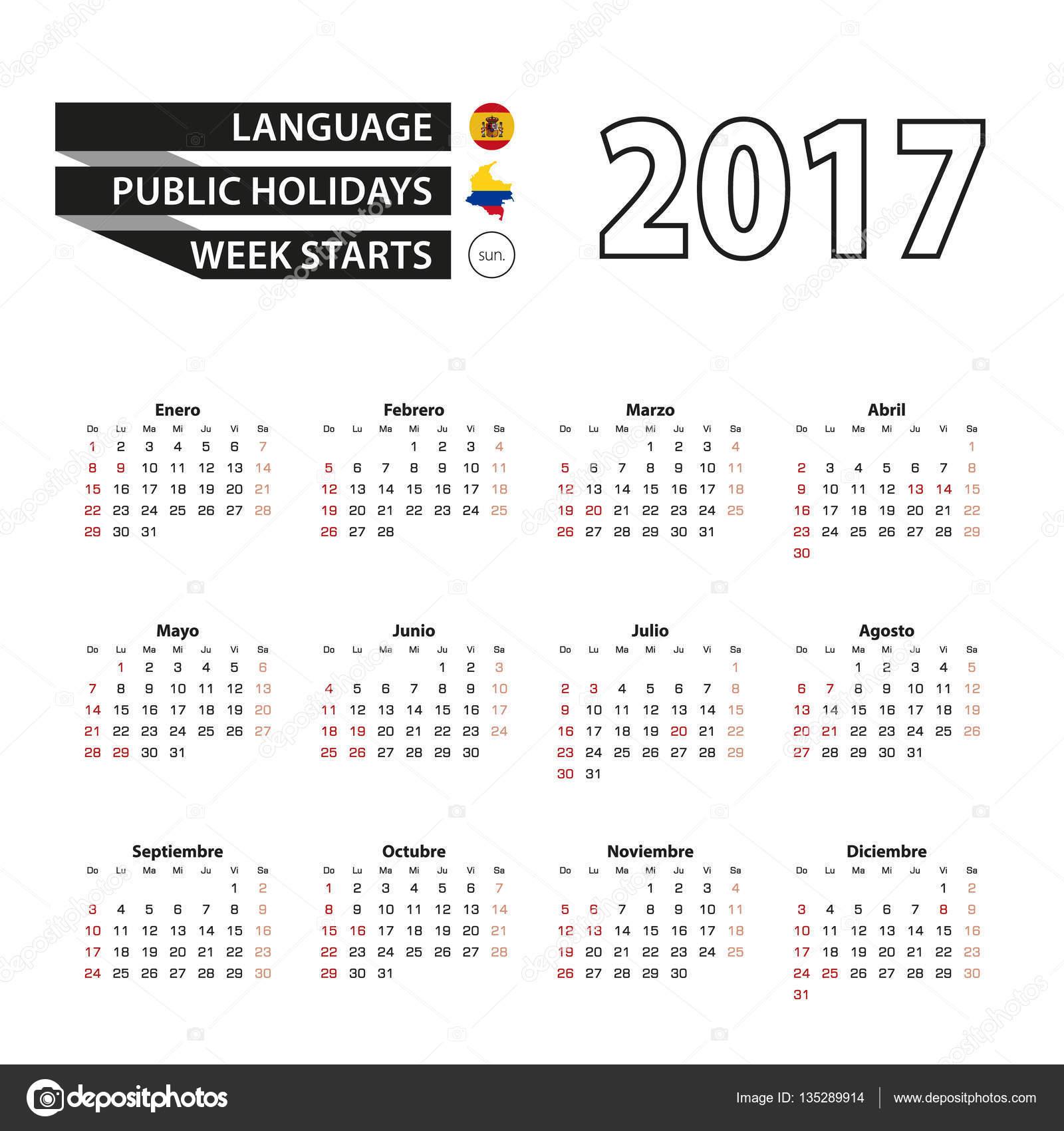 Calendario 2017 Colombia.Calendario 2017 In Lingua Spagnola Con I Giorni Festivi Per