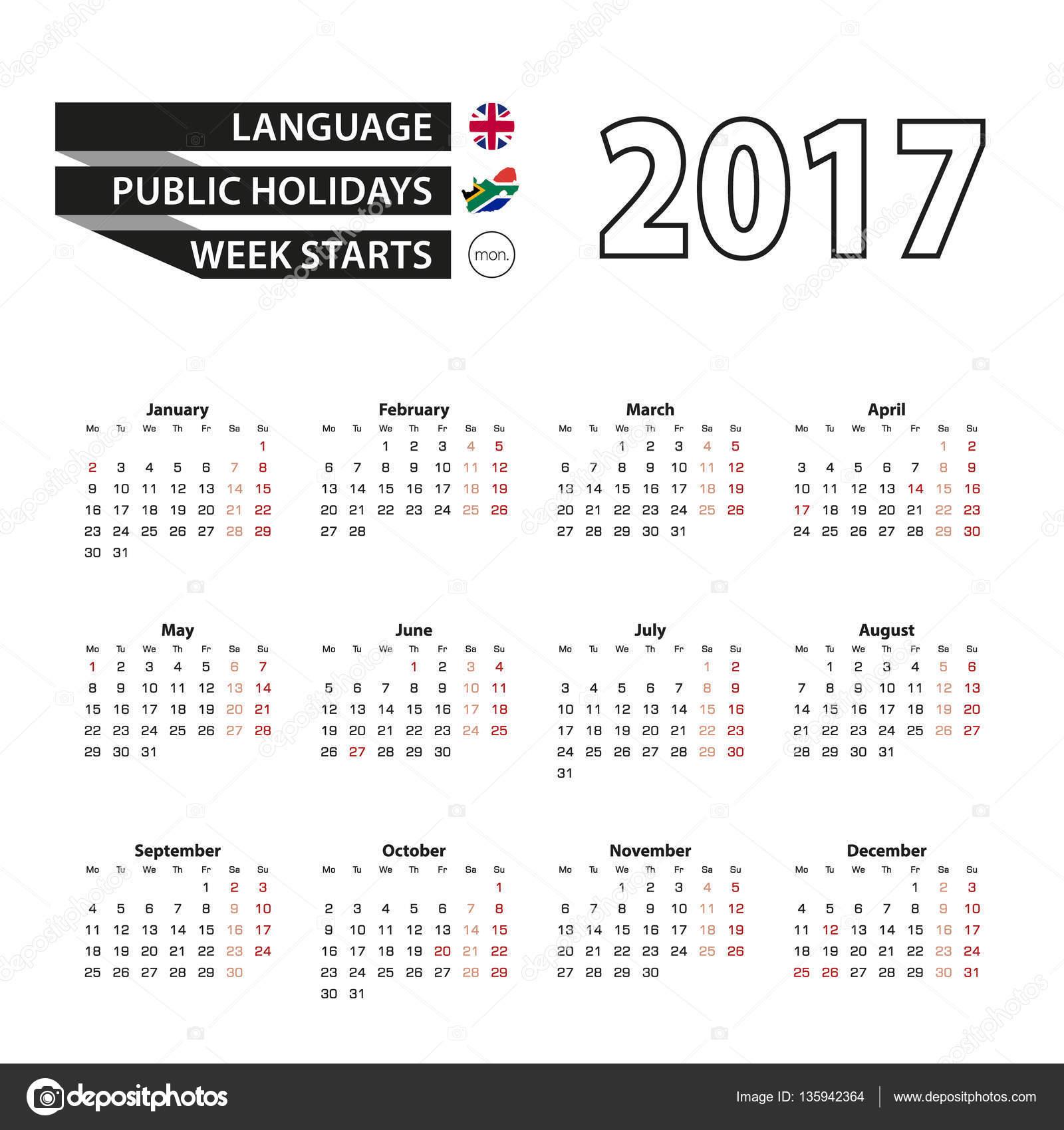 Calendar 2017 on English language. With Public Holidays ...