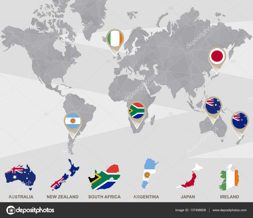 World map with Australia, New Zealand, South Africa ...