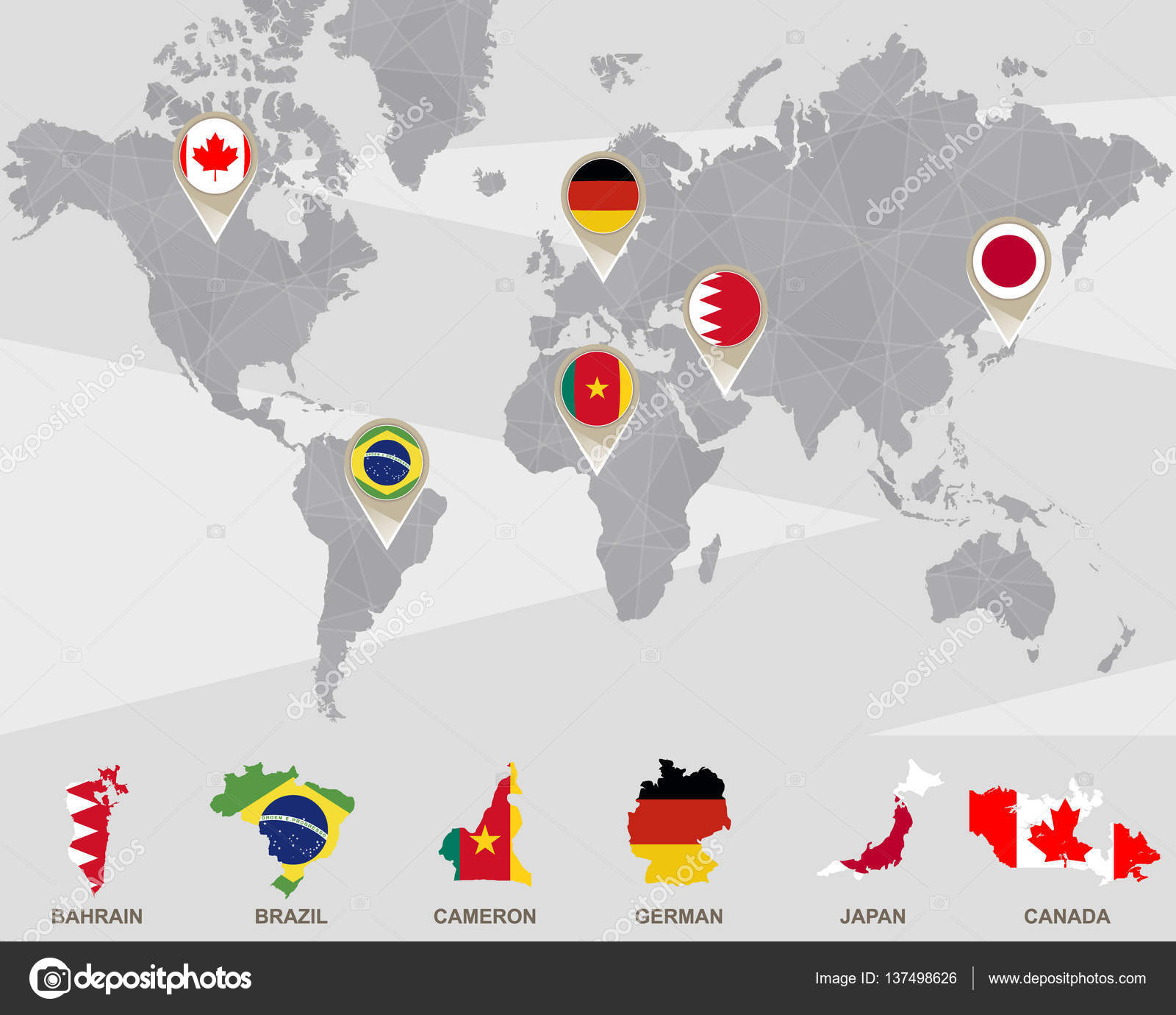 World map with bahrain brazil cameron german japan canada world map with bahrain brazil cameron german japan canada pointers vector illustration vector by boldg gumiabroncs Choice Image