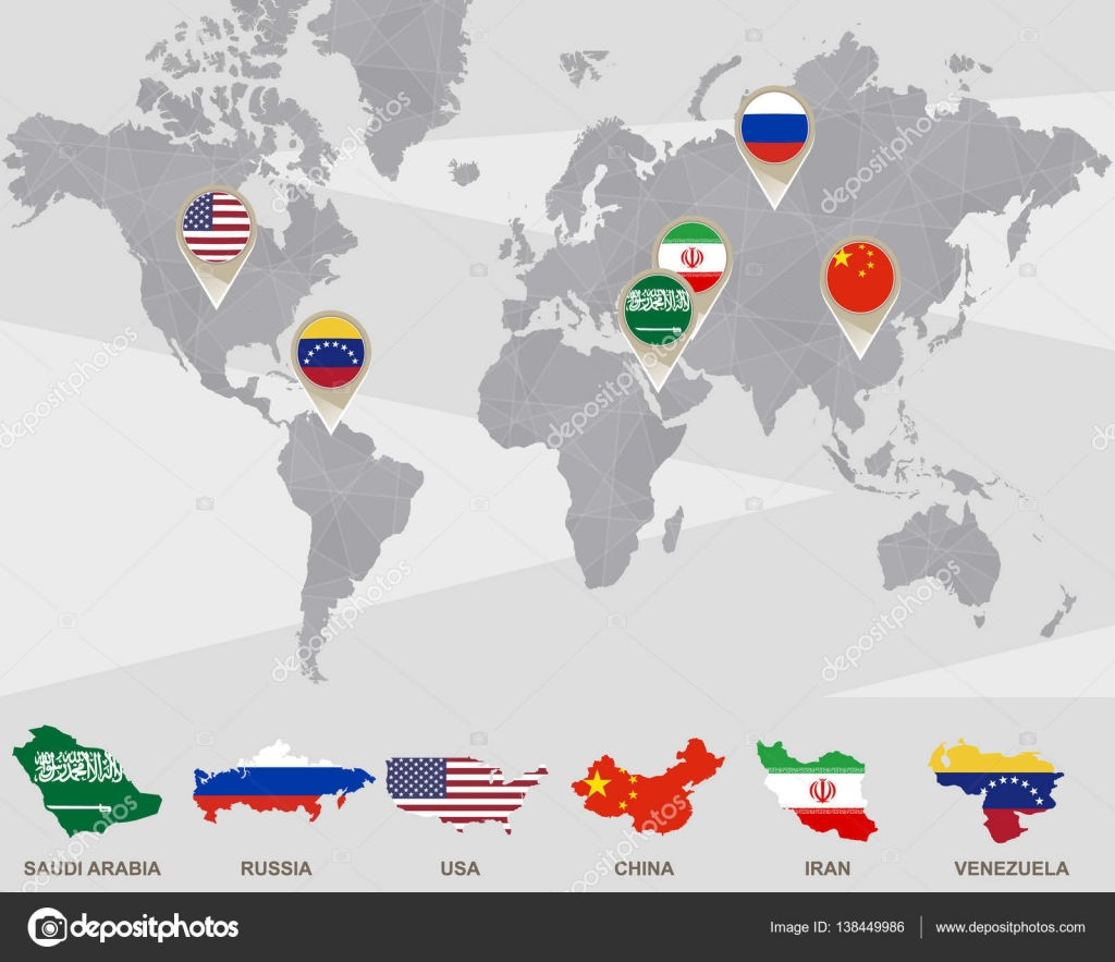 World Map With Saudi Arabia Russia Usa China Iran Venezuela