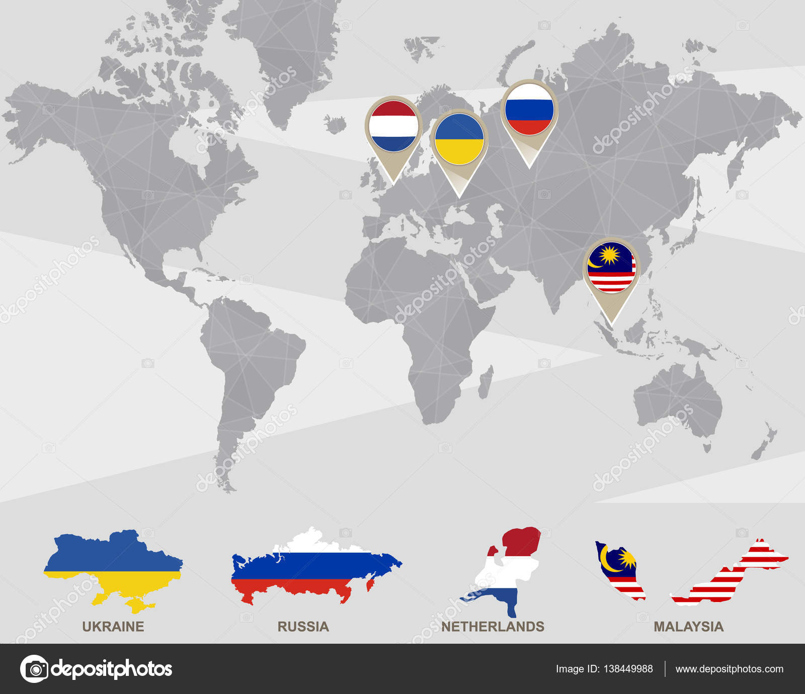 World map with ukraine russia netherlands malaysia pointers world map with ukraine russia netherlands malaysia pointers plane crash vector illustration vector by boldg gumiabroncs Images