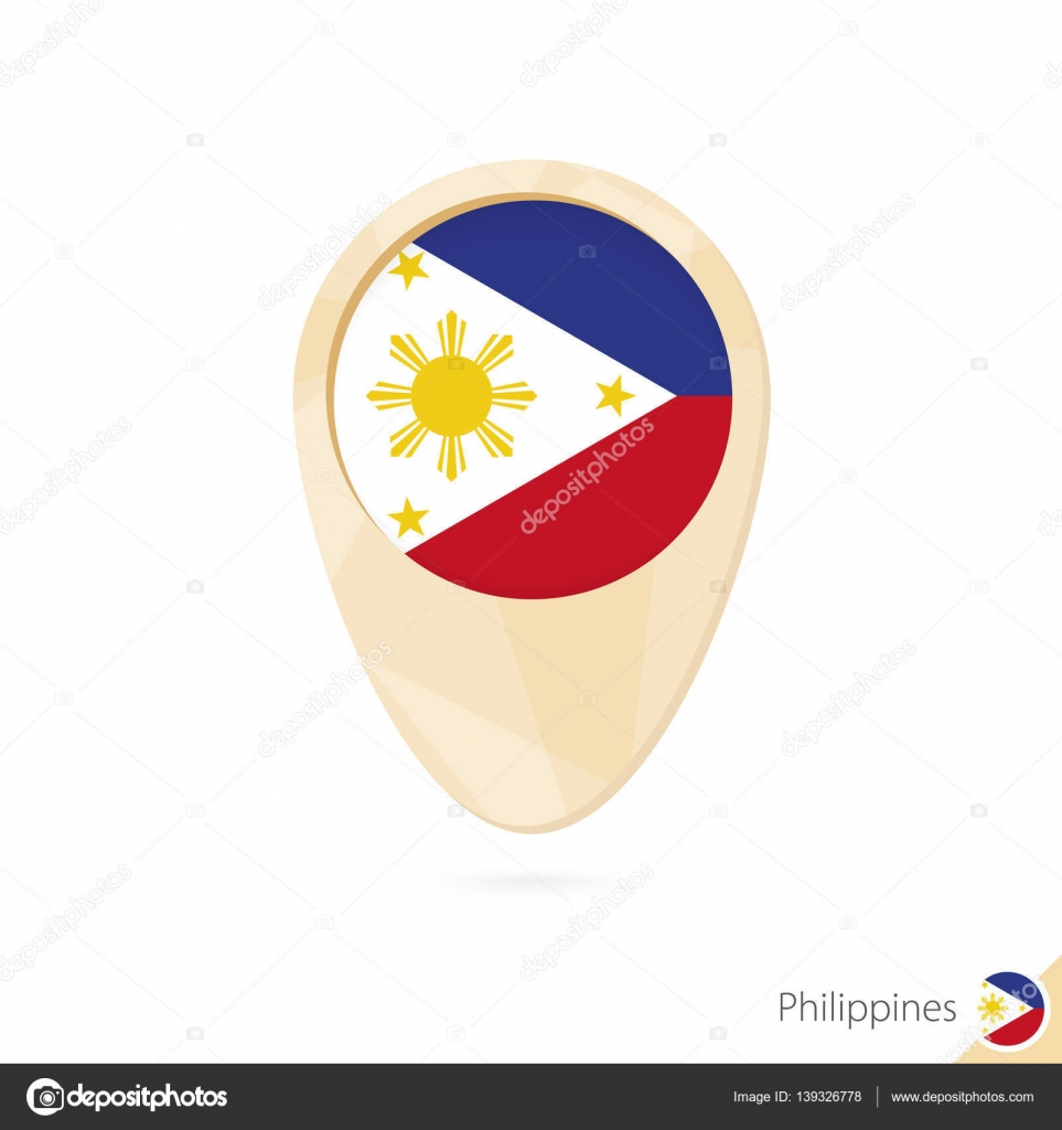 Map pointer with flag of philippines orange abstract map icon map pointer with flag of philippines orange abstract map icon stock vector buycottarizona Images