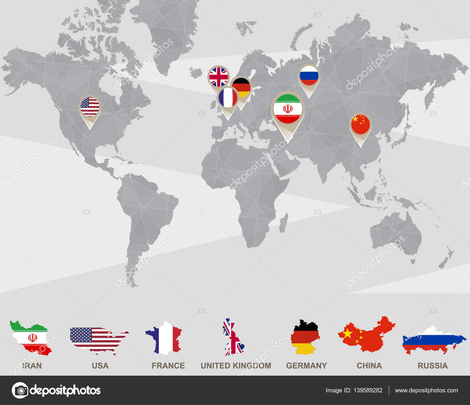 World map with iran usa france uk germany china russia world map with iran usa france uk germany china russia pointers iran sanctions vector illustration vector by boldg gumiabroncs Gallery