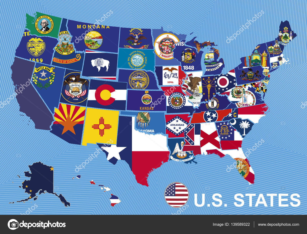 Usa Karte mit Flaggen von Staaten, auf blauem Hintergrund ...