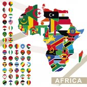 Fotografie Vector map of Africa with flags