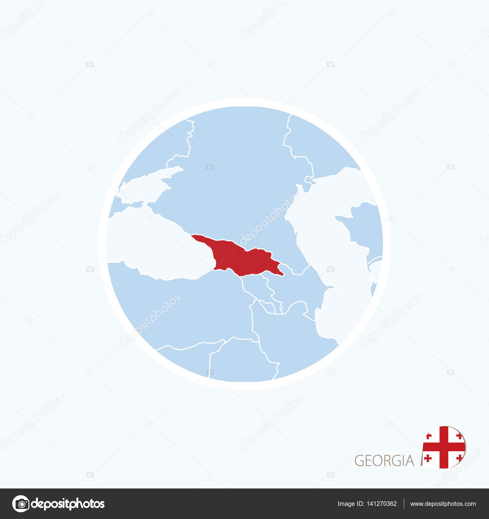 Map Of Europe Georgia.Map Icon Of Georgia Blue Map Of Europe With Highlighted Georgia