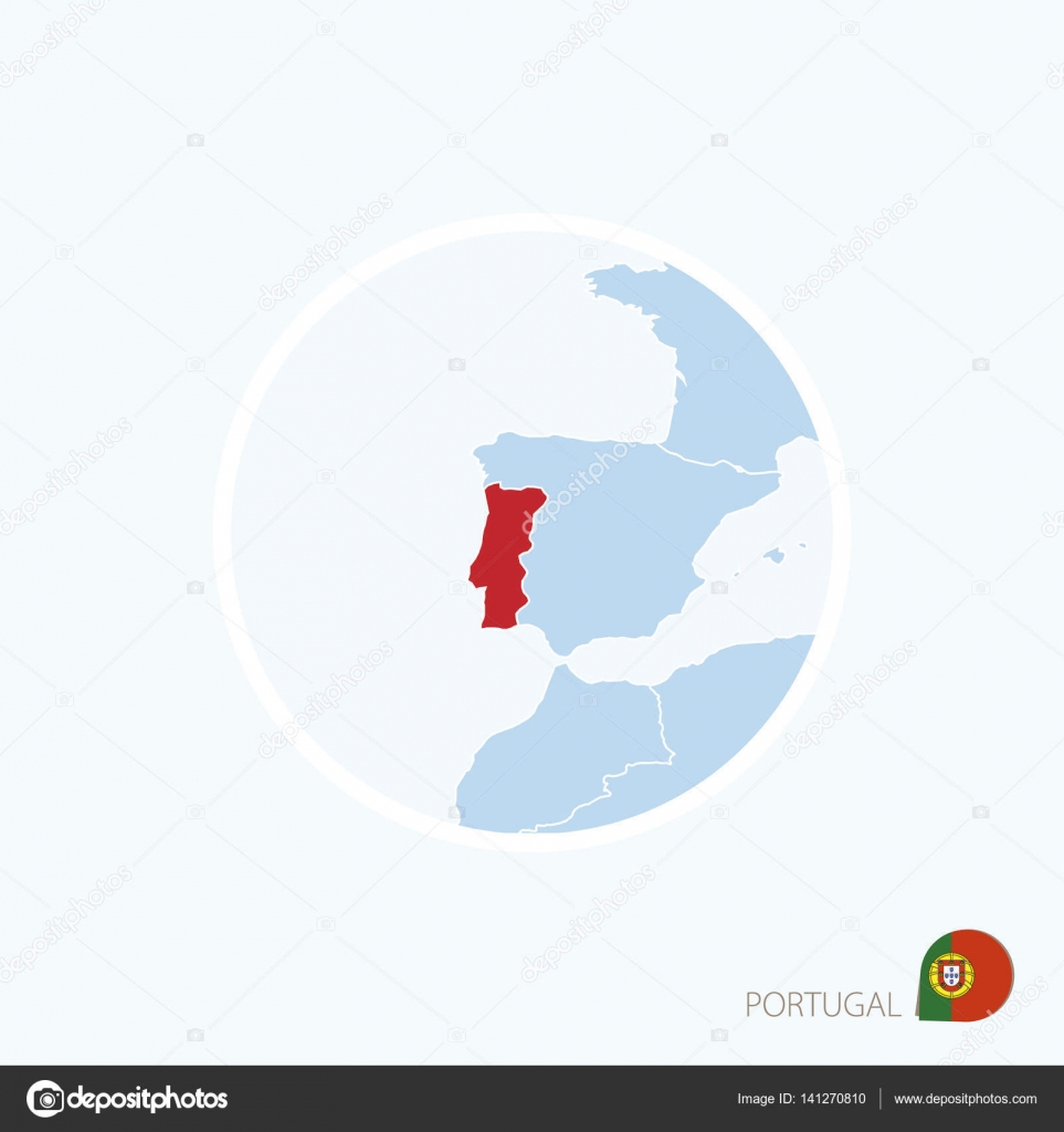 Map Icon Of Portugal Blue Map Of Europe With Highlighted Portugal - Portugal map icon
