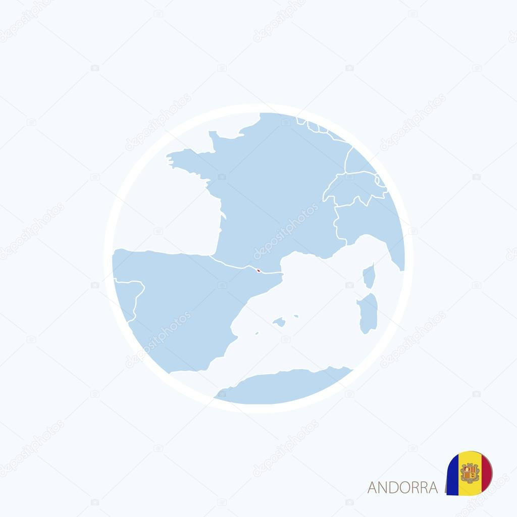Map Icon Of Andorra Blue Map Of Europe With Highlighted Andorra In Red Color Vector Illustration Premium Vector In Adobe Illustrator Ai Ai Format Encapsulated Postscript Eps Eps Format