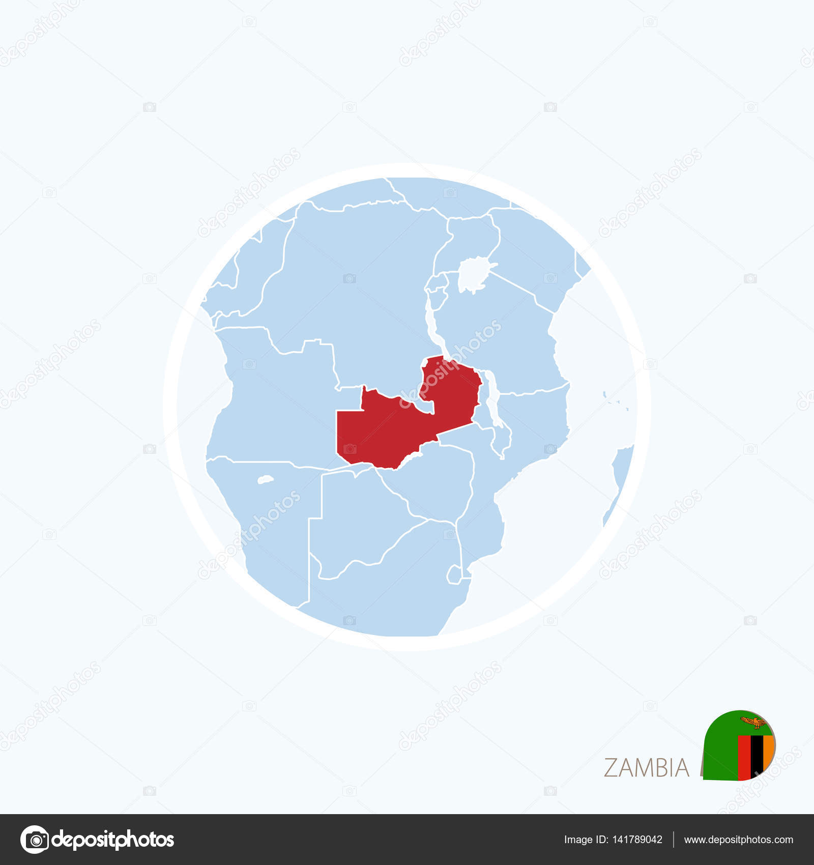 Map Of Africa Zambia.Map Icon Of Zambia Blue Map Of Africa With Highlighted Zambia