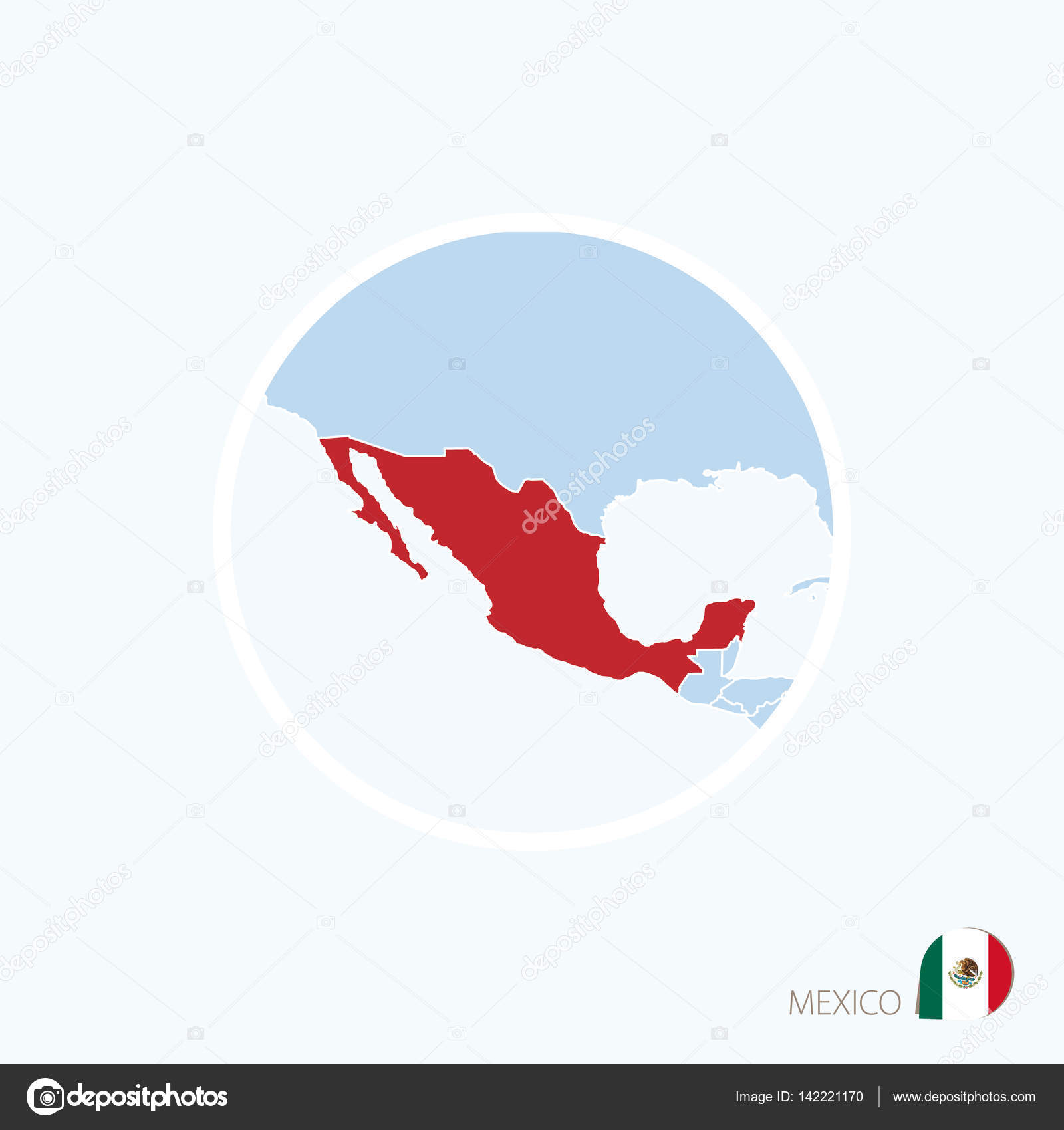 map icon of mexico blue map of north america with highlighted mexico stock vector