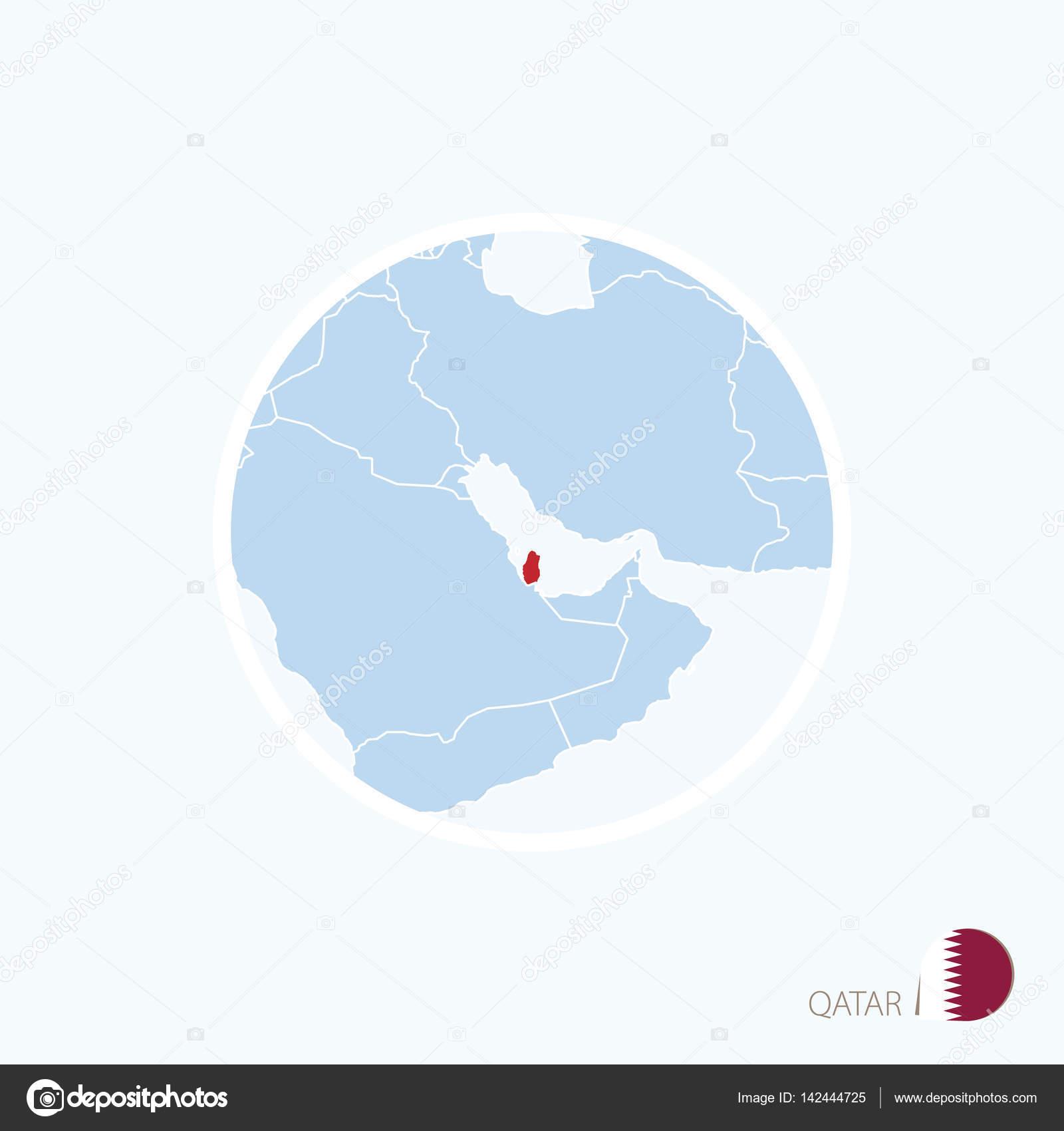 Kartikon Av Qatar Bla Karta Over Mellanostern Med Markerade Qatar