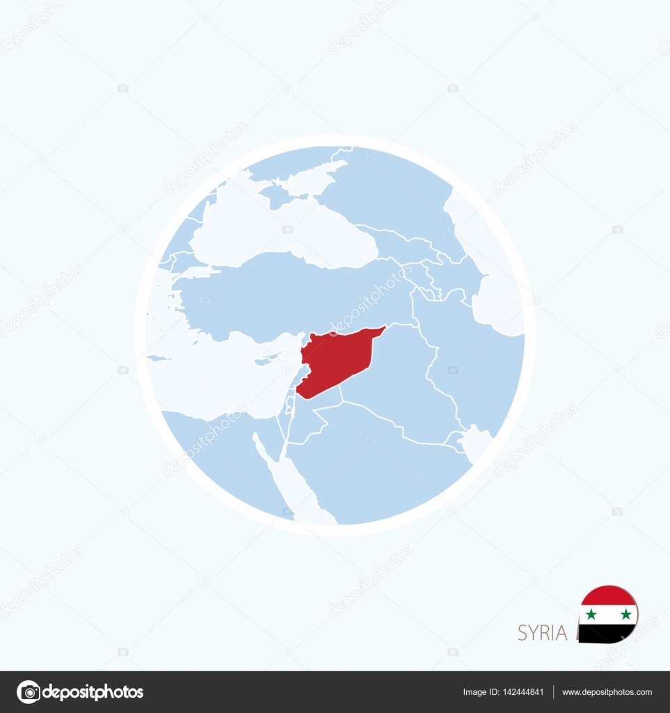 Map icon of Syria. Blue map of Middle East with highlighted ...