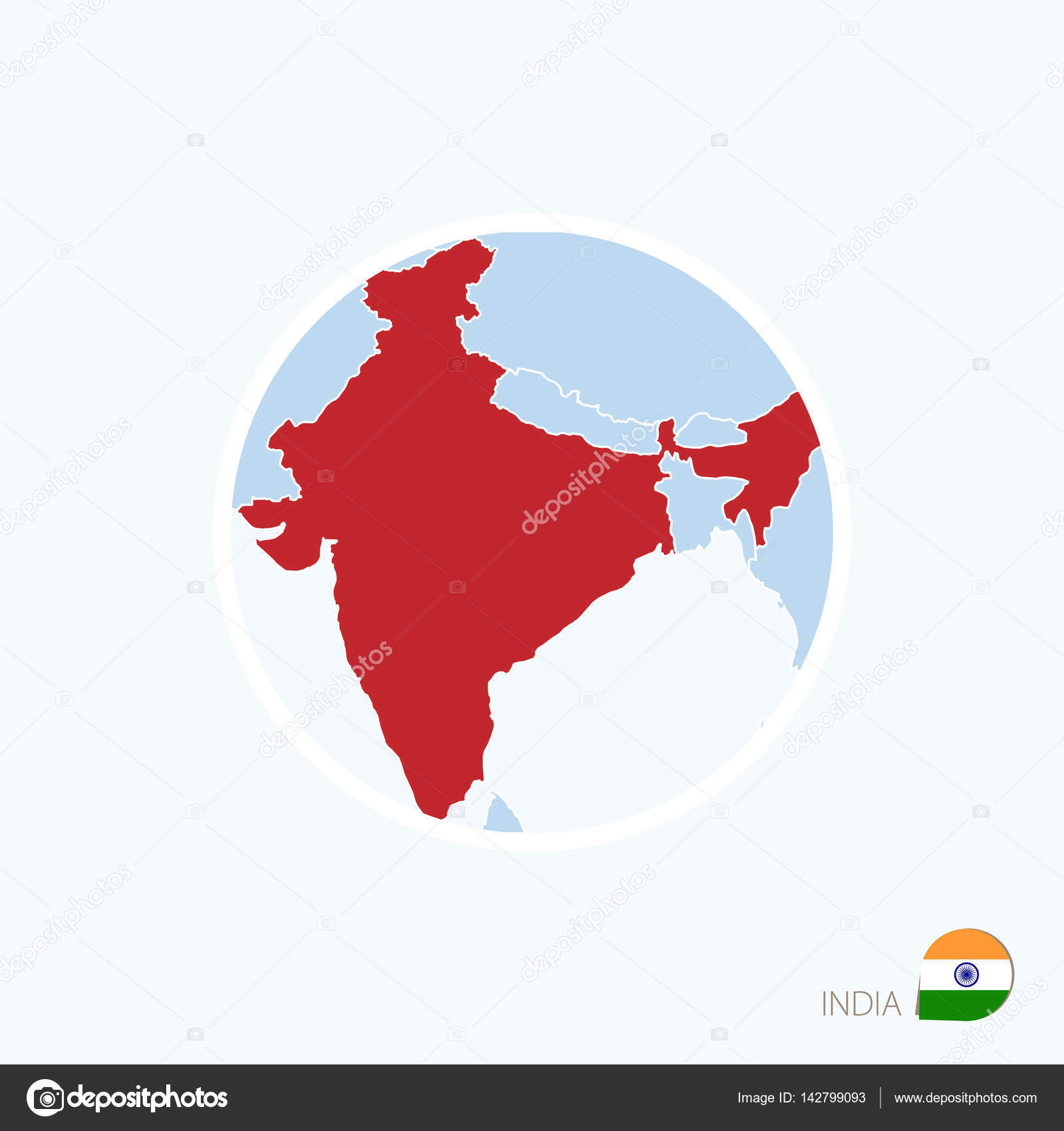 map icon of india blue map of south asia with highlighted india in red color vector illustration vector by boldg