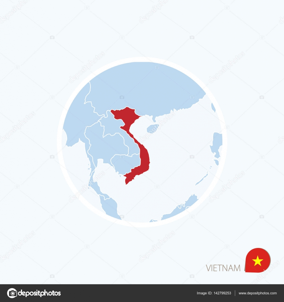 map icon of vietnam blue map of southeast asia with highlighted vietnam stock vector