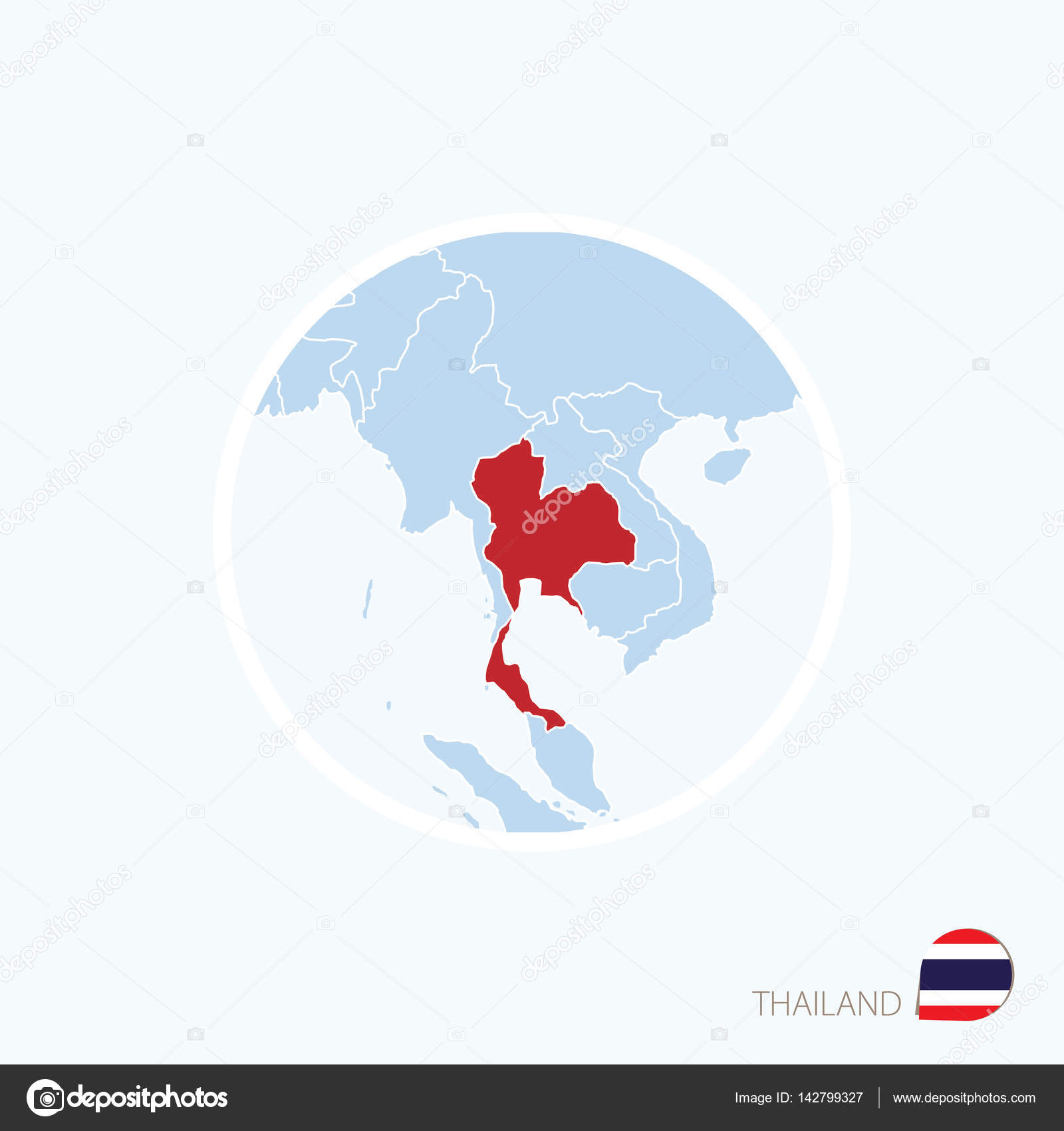 Map icon of Thailand. Blue map of Asia with highlighted ...