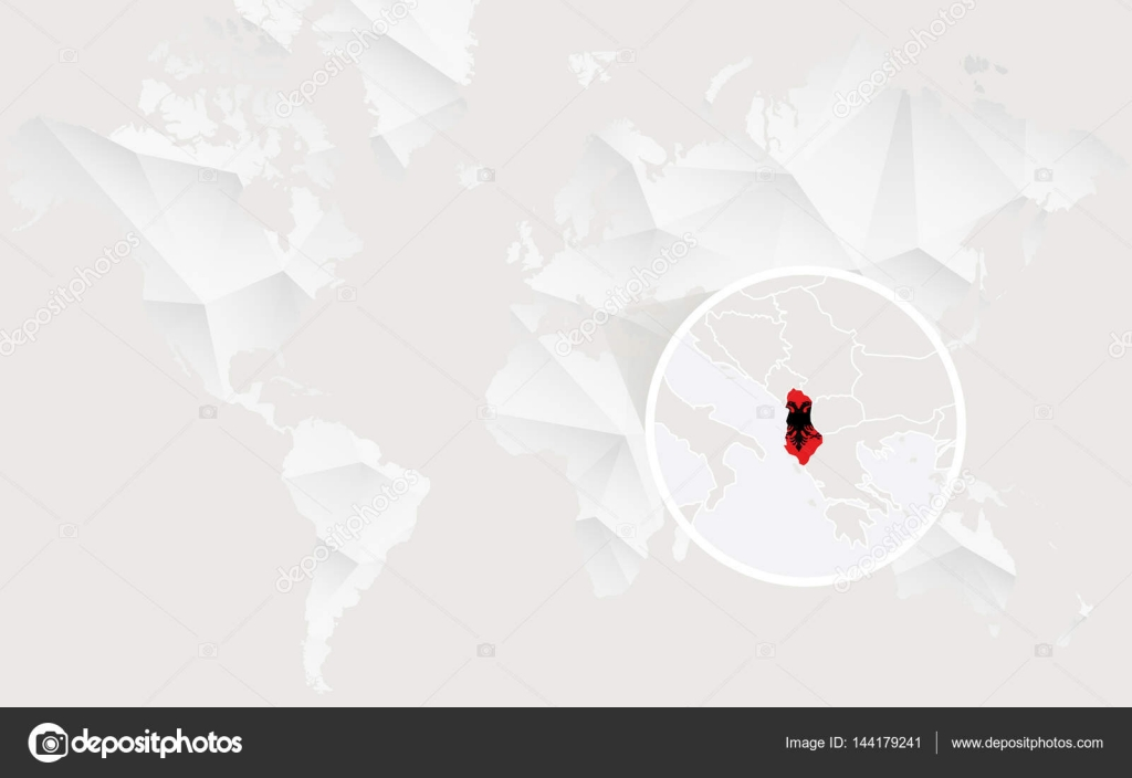 Albania map with flag in contour on white polygonal world map albania map with flag in contour on white polygonal world map vector illustration vector by boldg gumiabroncs Gallery