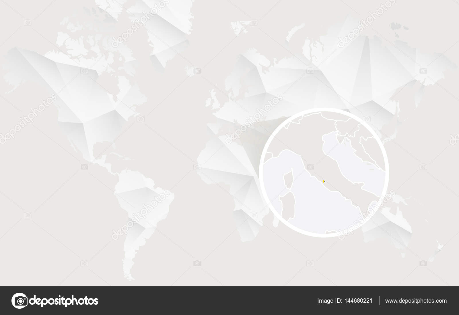 Vatican City On World Map.Vatican City Map With Flag In Contour On White Polygonal World M