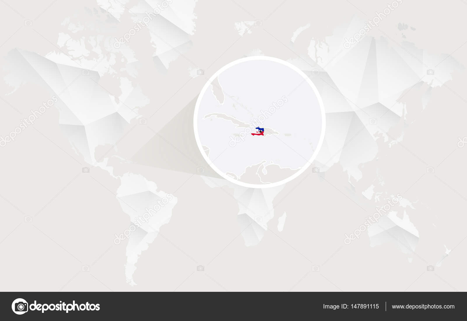 Haiti On Map Of World.Haiti Map With Flag In Contour On White Polygonal World Map Stock