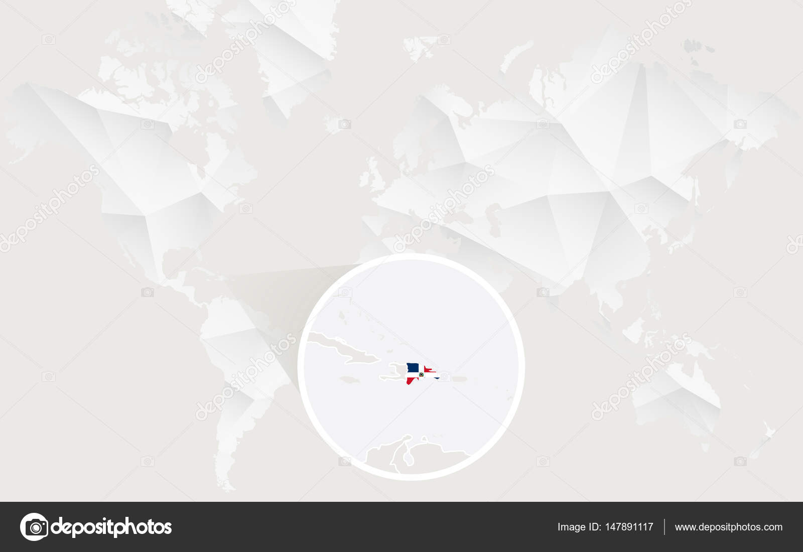 Dominican republic map with flag in contour on white polygonal world dominican republic map with flag in contour on white polygonal world map vector illustration vector by boldg publicscrutiny Choice Image