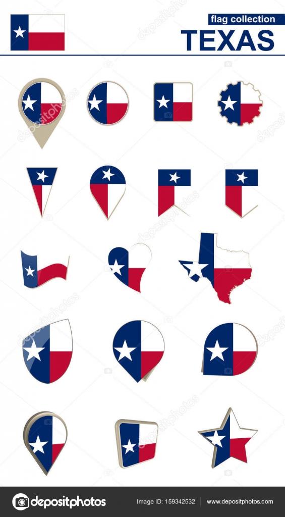 Colección de la bandera de Texas. Gran conjunto de diseño — Archivo ...