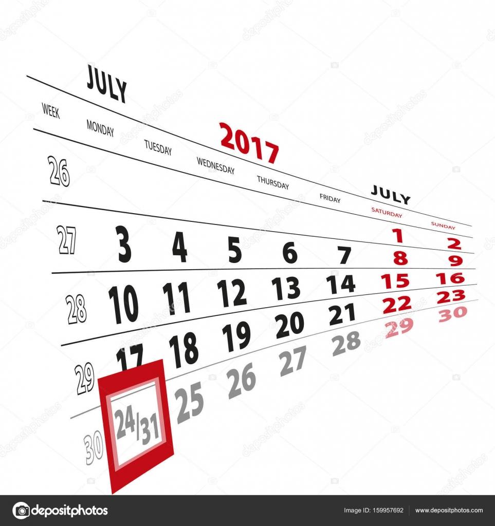 Calendario 31 Luglio.31 Luglio Evidenziate Sul Calendario 2017 Settimana Inizia