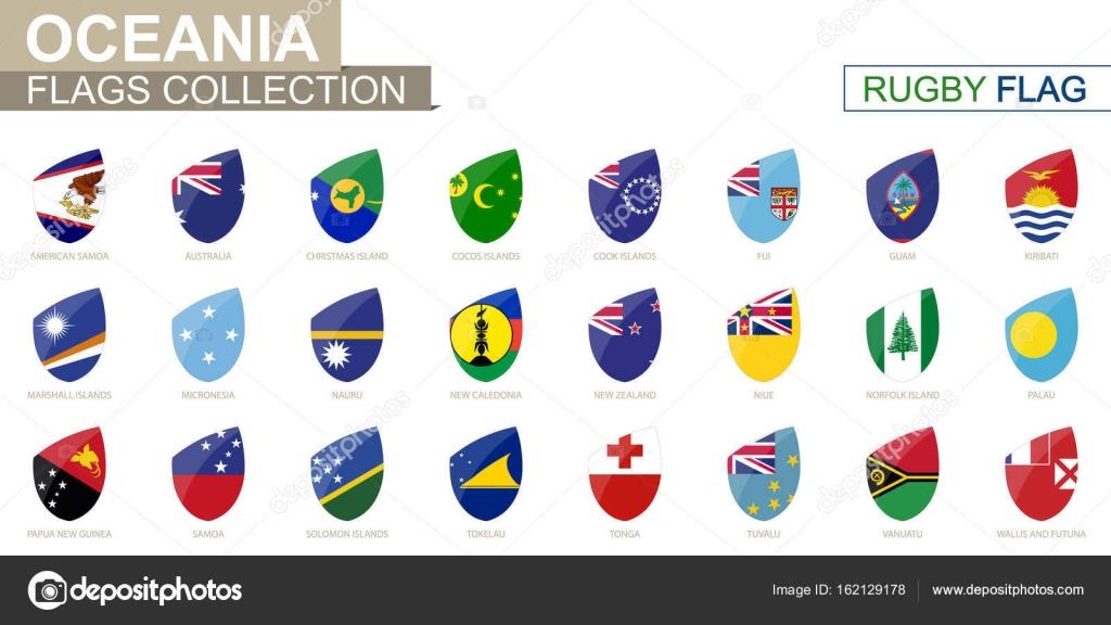Ozeanische Länder Flaggen Sammlung. Rugby-Flag gesetzt ist ...