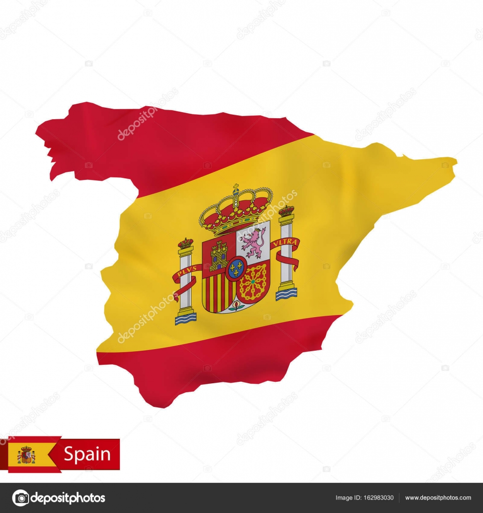 Map Of Spain Vector Free.Spain Map With Waving Flag Of Spain Stock Vector C Boldg 162983030