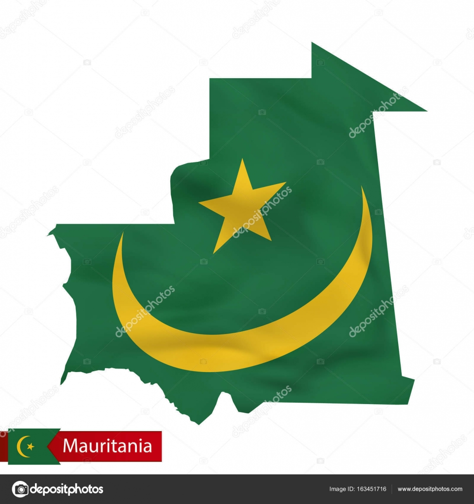 Mauritania Map With Waving Flag Of Country Stock Vector Boldg - Mauritania map download