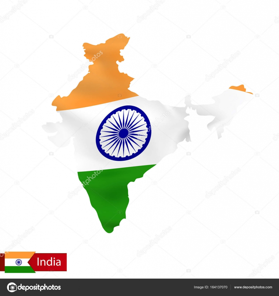 India Map Flag.India Map With Waving Flag Of Country Stock Vector C Boldg 164137070
