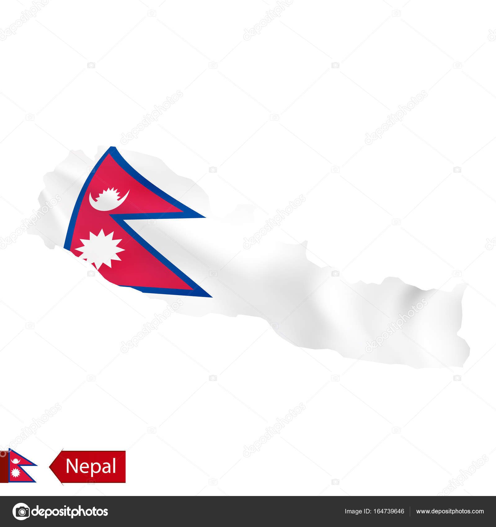 Nepal map with waving flag of country. — Stock Vector © boldg #164739646