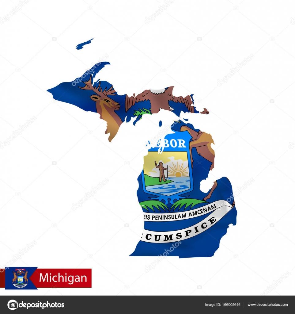 Mapa del estado de Michigan con la bandera de estado de los E.e.u.u. ...
