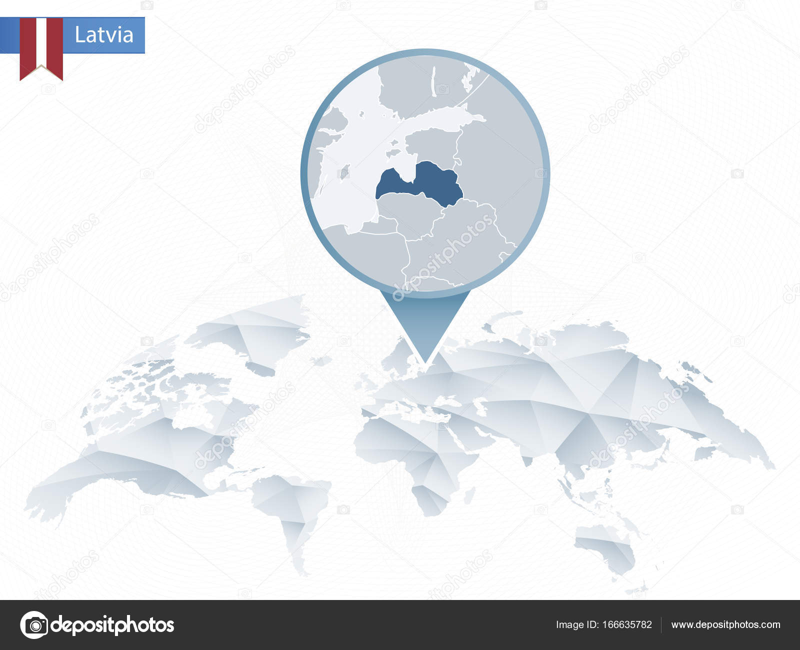 Abstract rounded world map with pinned detailed latvia map stock abstract rounded world map with pinned detailed latvia map map and flag of latvia vector illustration vector by boldg gumiabroncs Images