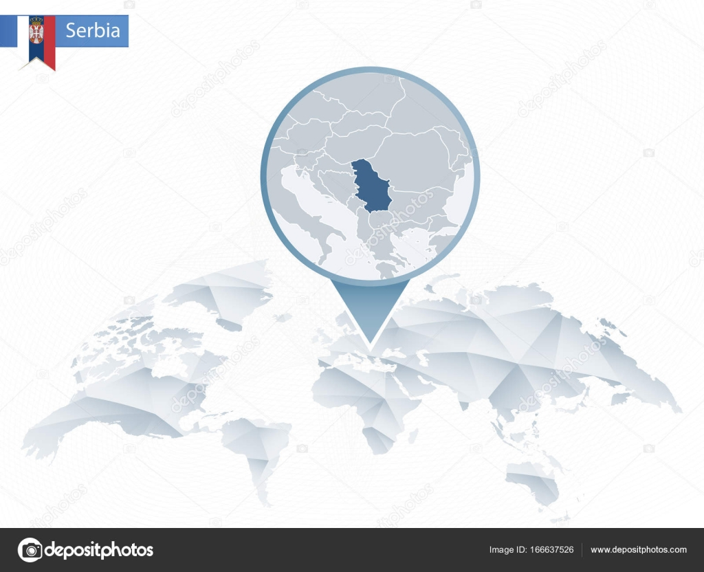 Abstract rounded World Map with pinned detailed Serbia map
