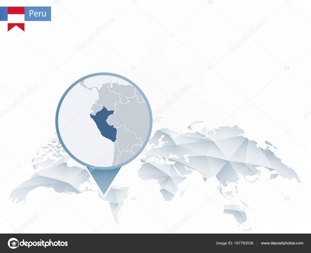 Abstract rounded World Map with pinned detailed Peru map. — Stock ...