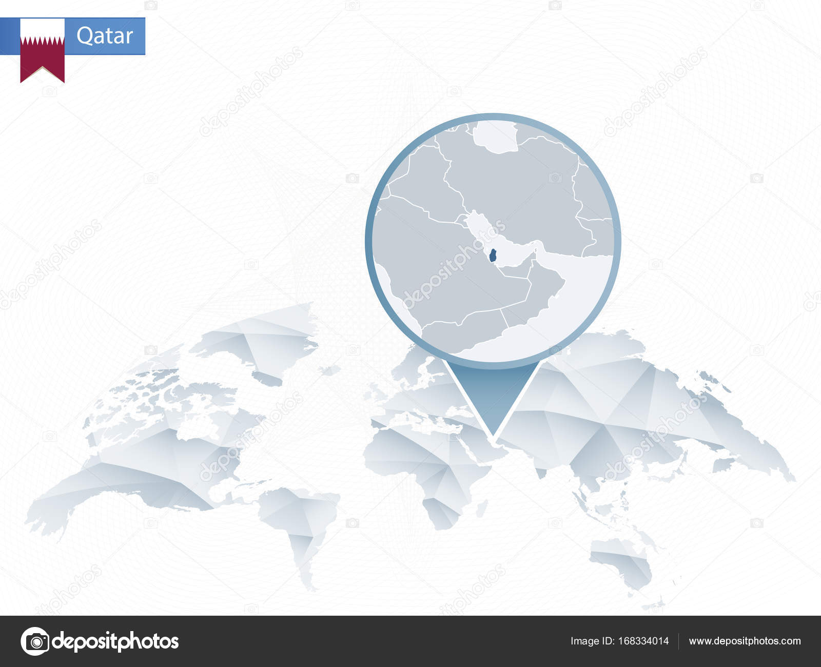 Abstract rounded world map with pinned detailed qatar map stock abstract rounded world map with pinned detailed qatar map vector illustration vector by boldg publicscrutiny Image collections
