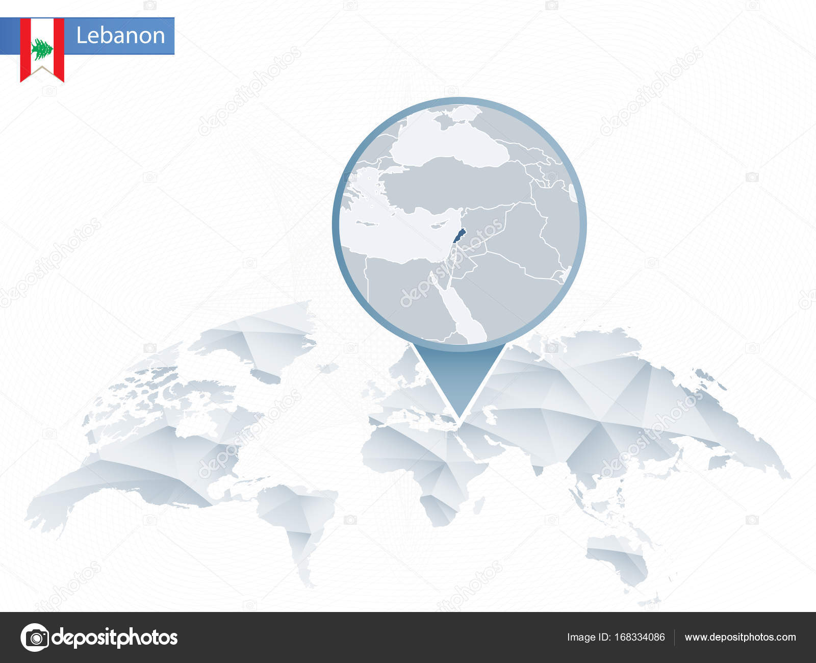 Abstract rounded World Map with pinned detailed Lebanon map. — Stock ...