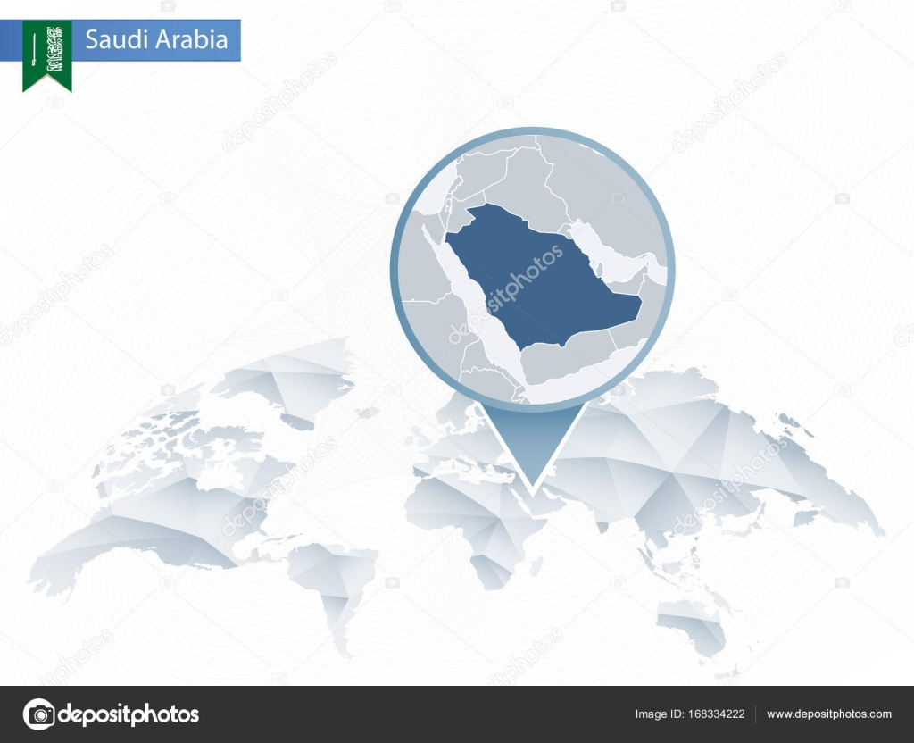 Abstract rounded World Map with pinned detailed Saudi Arabia map ...