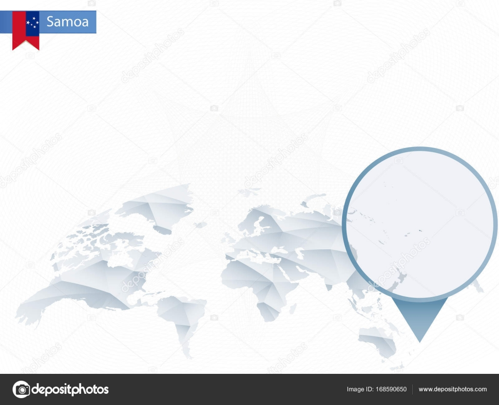 Abstract Rounded World Map With Pinned Detailed Samoa Map Stock - Samoa map vector