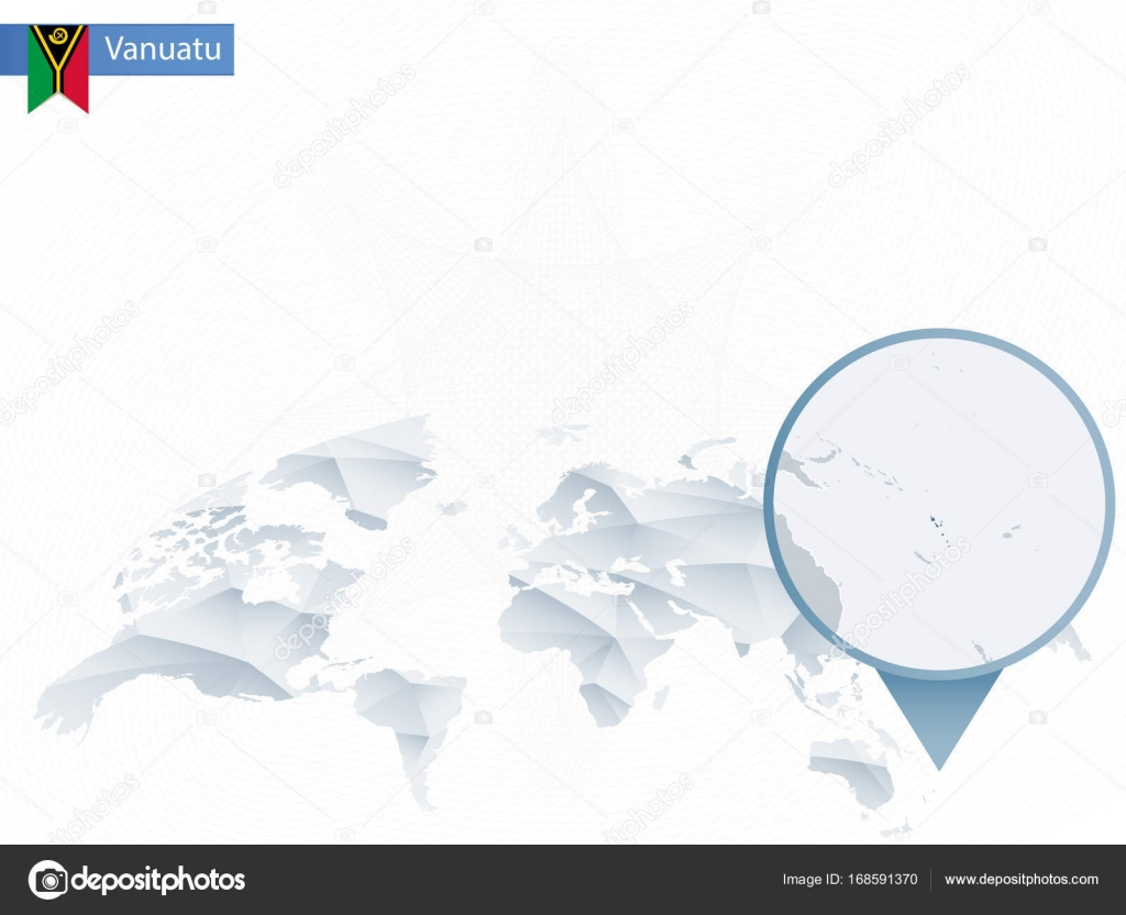 Abstract Rounded World Map With Pinned Detailed Vanuatu Map - Vanuatu map download