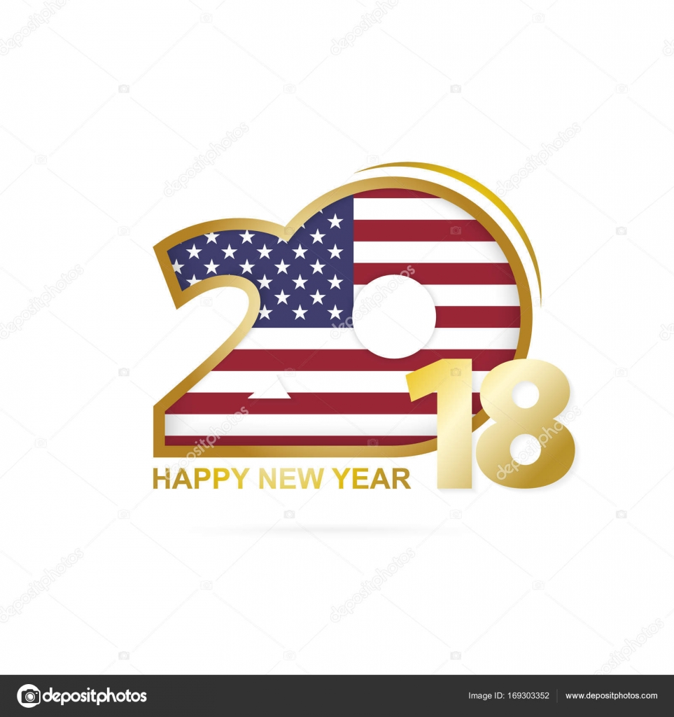 year 2018 with usa flag pattern happy new year design stock vector