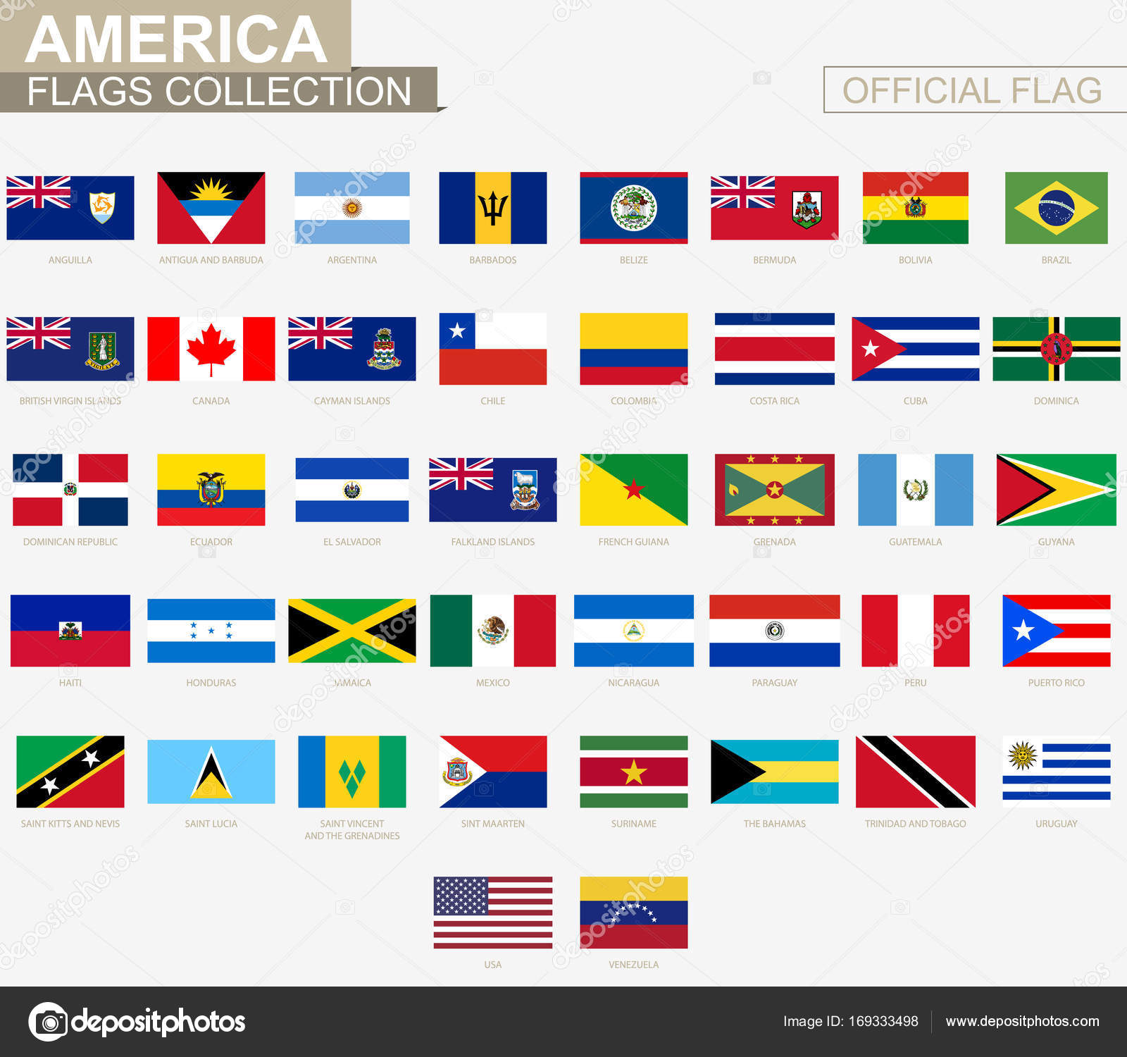 national flag of american countries official vector flags colle