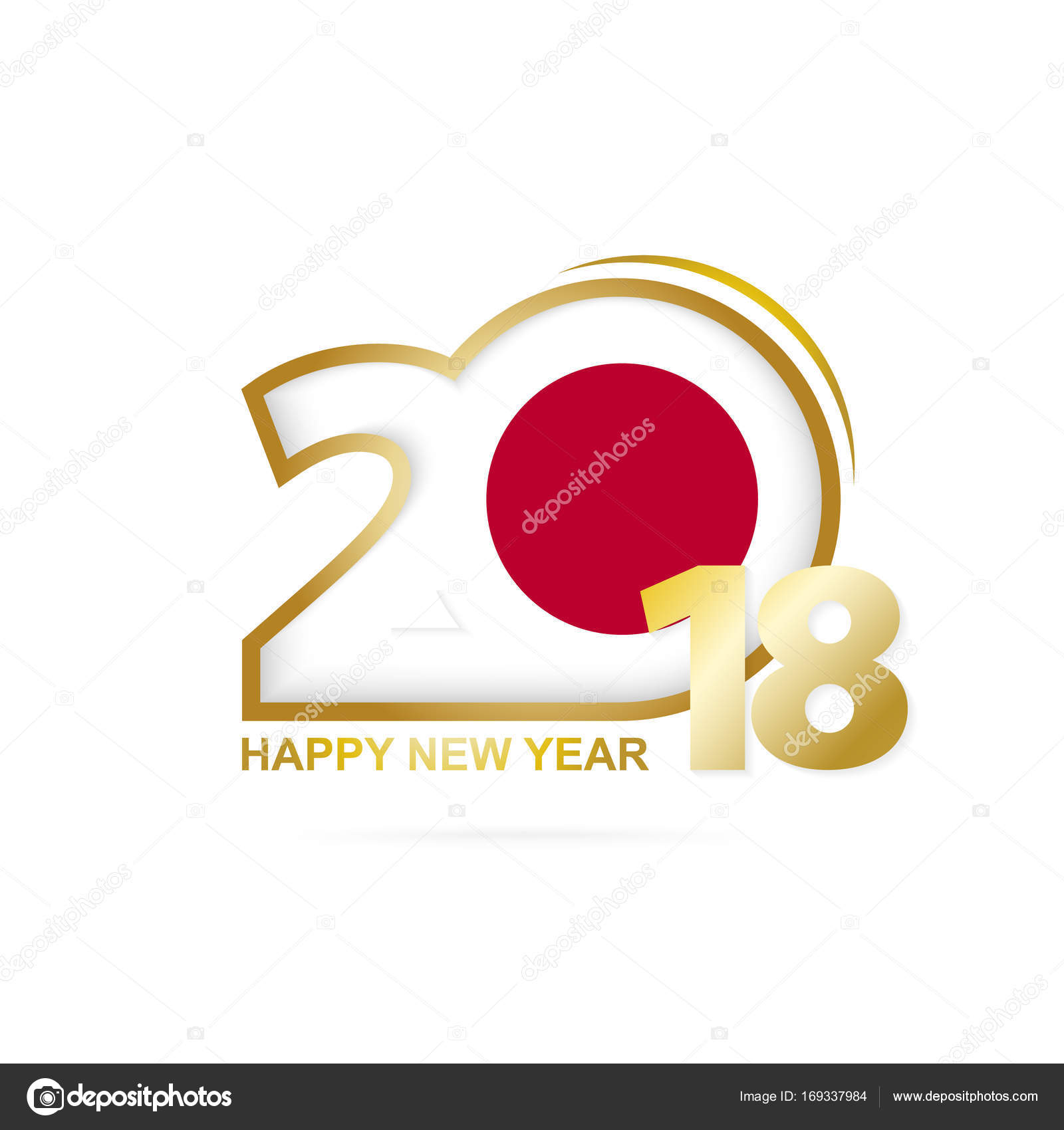 year 2018 with japan flag pattern happy new year design stock vector